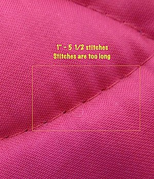 stitching on T-shirt quilt is too long