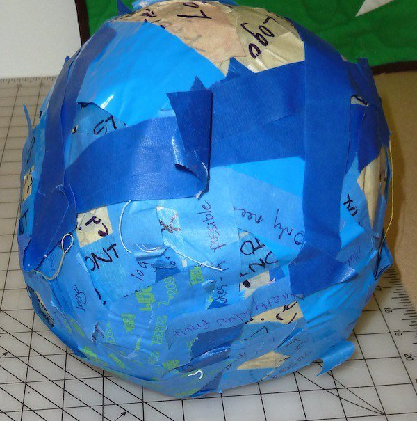 Blue painters tape ball.
