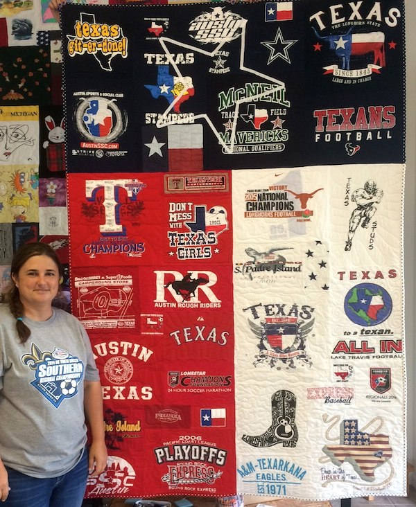 Texas T-shirt quilt is shape of Texas flag