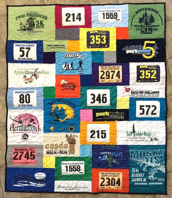 Race numbers used in a T-shirt quilt
