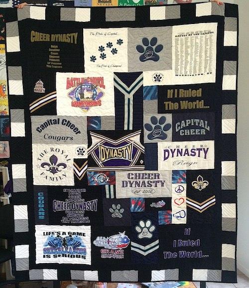 Cheerleading t-shirt quilt