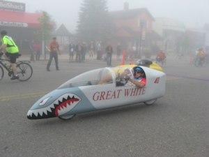 David Johnson riding Great White at the start of the Black Bear leaving Grayling