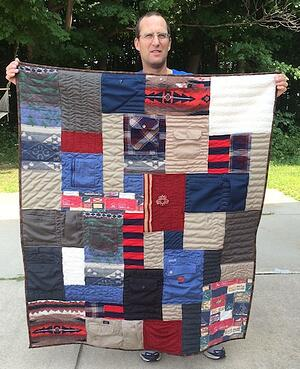 An example of a clothing quilt made from this guys' clothing