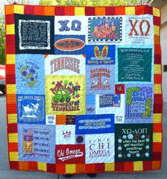 The result of a T-shirt quilt remake.