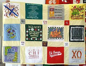 This is a poorly made traditional style T-shirt quilt