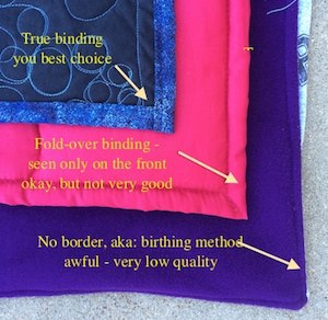 Types of Binding found on T-shirt quilts