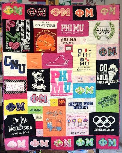 Sorority T-shirt quilt