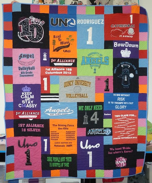 colorful T-shirt quilt