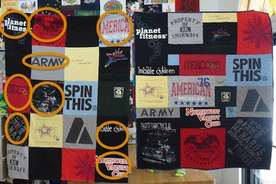 logos on a T-shirt quilt cropped off