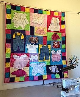 Quilt made from doll clothes