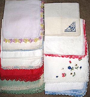Hankies ready to be made into a quilt
