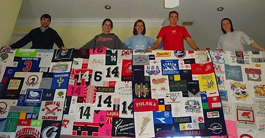 Each kid with their T-shirt quilt made in adulthood.