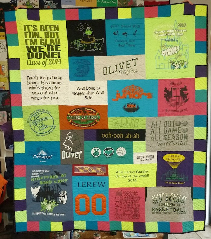 Neon Yellow Olivet HS T-shirt quilt