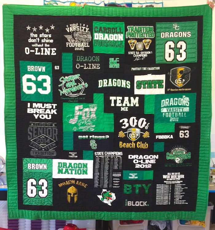 Black and Green T-shirt Quilt
