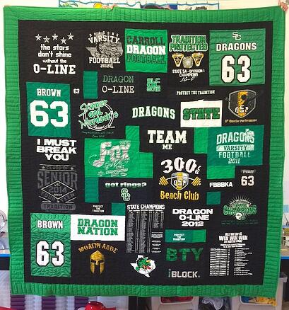 Black and green T-shirt Quilt is a great example of monochromatic T-shirt quilt color theme.