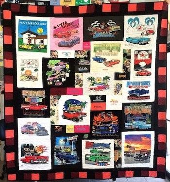 A car show themed T-shirt quilt.
