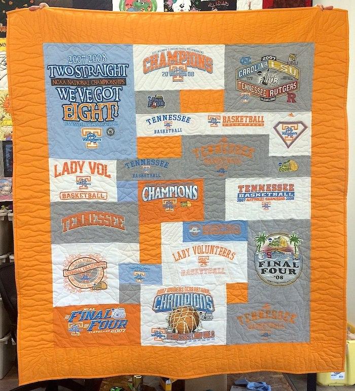 Tennessee Basketball T-shirt Quilt