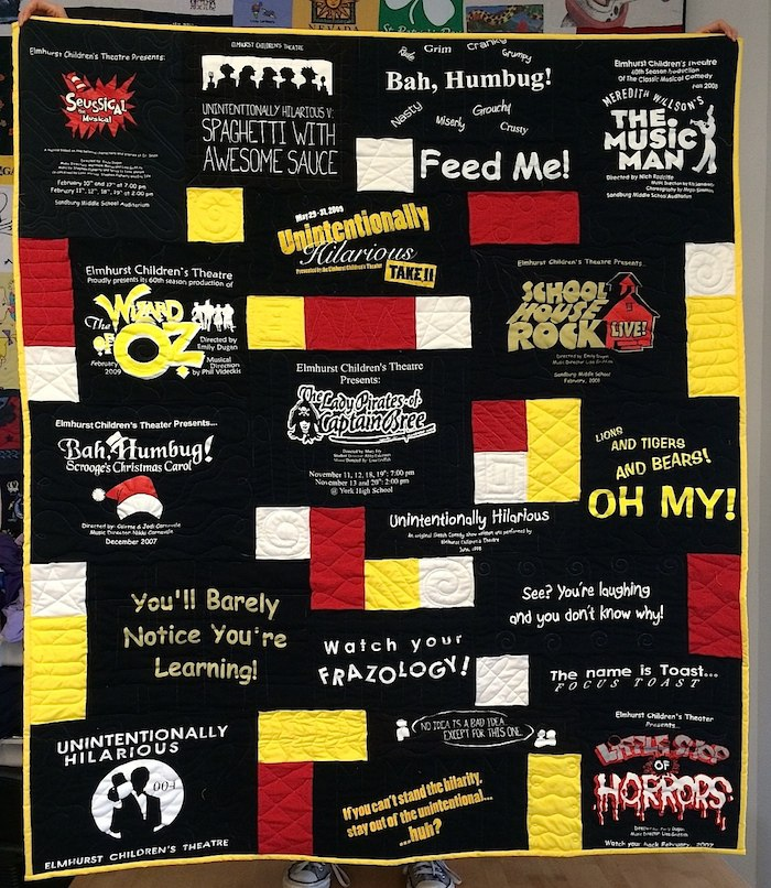 Theatre T-shirt quilt made colorful