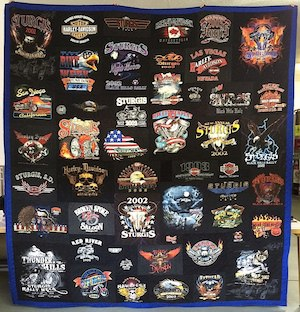 Harley Davidson all back T-shirt quilt with colorful border