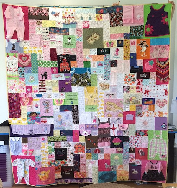 Baby clothes quilt - king size