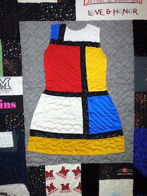 A whole dress can be used in a quilt or T-shirt quilt.