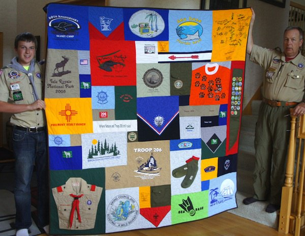 Boy and Girl Scout items can be used in a quilt or T-shirt quilt.
