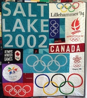 Olympic quilt - only trust those T-shirts to the most experienced quilt makers.