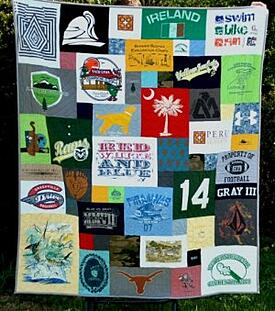 An awesome T-shirt quilt made with the Too Cool style.