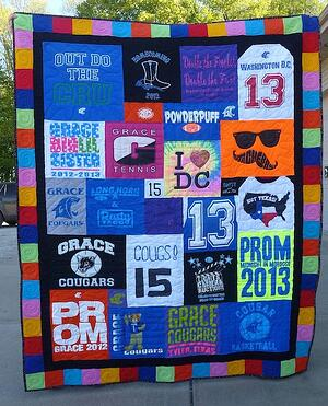An example of a T-shirt quilt with border to increase the size of the quilt.