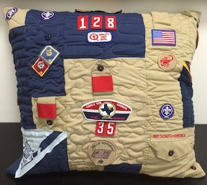 Boy scout clothing made into a quilted pillow