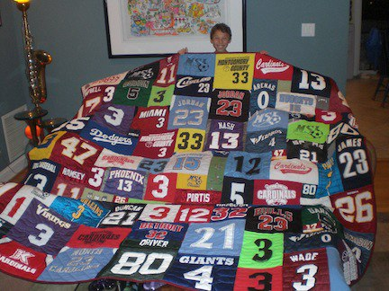 T Shirt Quilts Made With T Shirts With Numbers On Them
