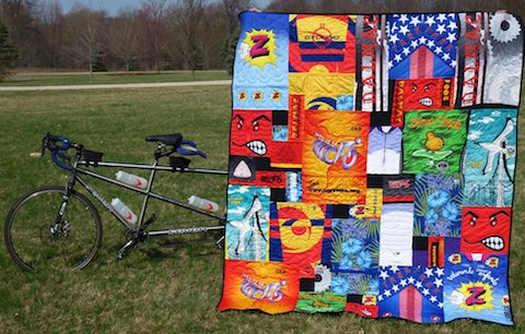 Tandem shown with bike jersey quilt