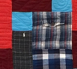 pocket used in a plaid shirt quilt.