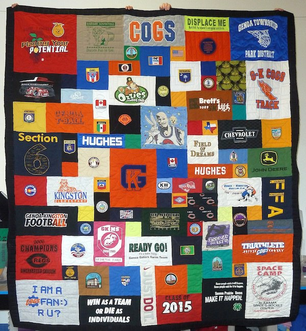patches used in a T-shirt quilt