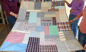 Plaid dress shirts made into a quilt