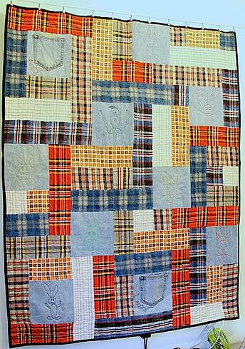 Plaid shirts and blue jean T-shirt quilt