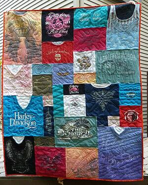 Harley Davidson T-shirt quilt with many necklines