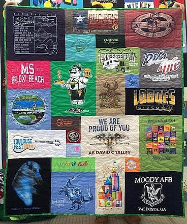 This is a great example of a travel T-shirt quilt.