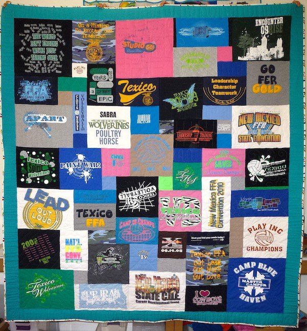 block in upside down on a T-shirt quilt