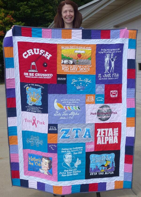 Use a border to make a T-shirt quilt large.