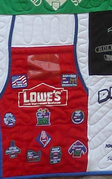 Lowe's Apron used t-shirt quilts