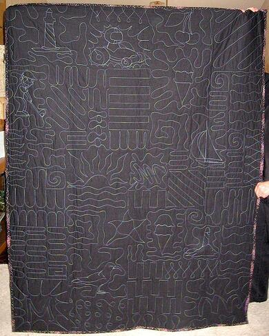 Cool quilting designs seen on the back of a T-shirt quilt.