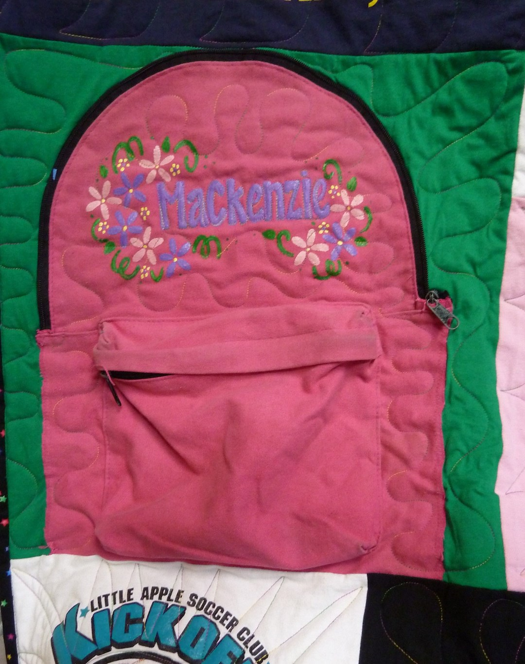 backpack used in a T-shirt quilt