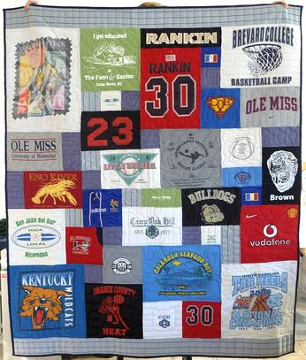 baseballl pants and jersey used in T-shirt quilt