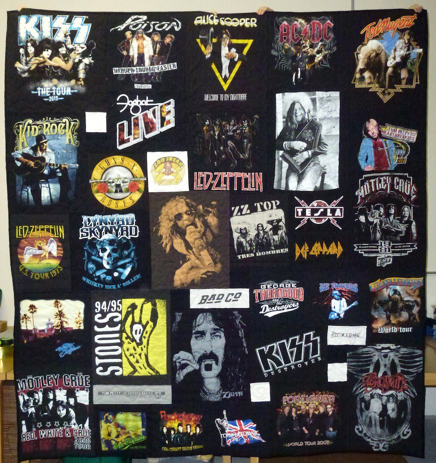 A band concert T-shirt quilt. This quilt has T-shirts from Led-Zeppelin, Alice Cooper and Kiss.