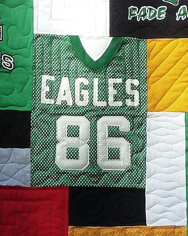 Football jerseys can be used in a quilt or T-shirt quilt.