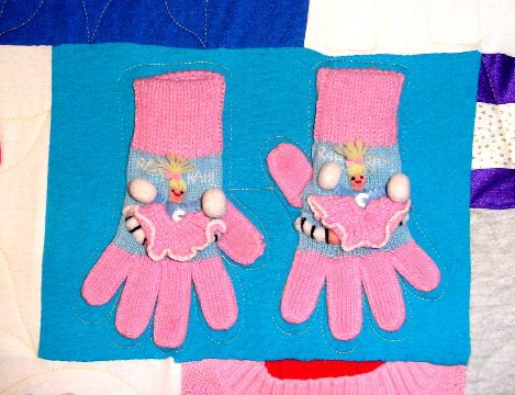 Gloved used in a T-shirt Quilt