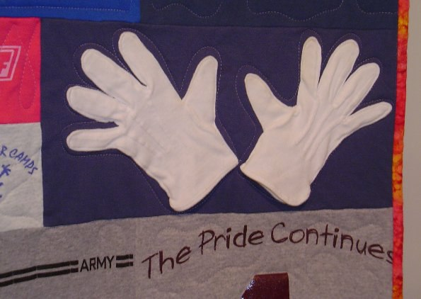 gloves used in a T-shirt quilt