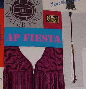 graduation tassel used in a T-shirt quilt