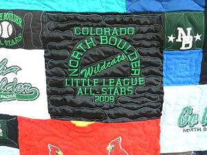 Baseball jacket used in a baseball T-shirt quilt by Too Cool T-shirt Quilts